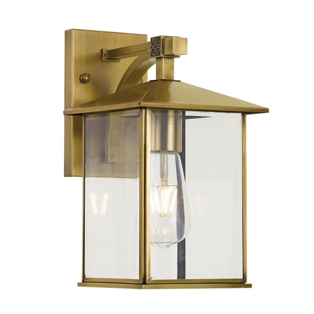 Coby 18cm Solid Brass Open Glass Box Lantern Coach Light