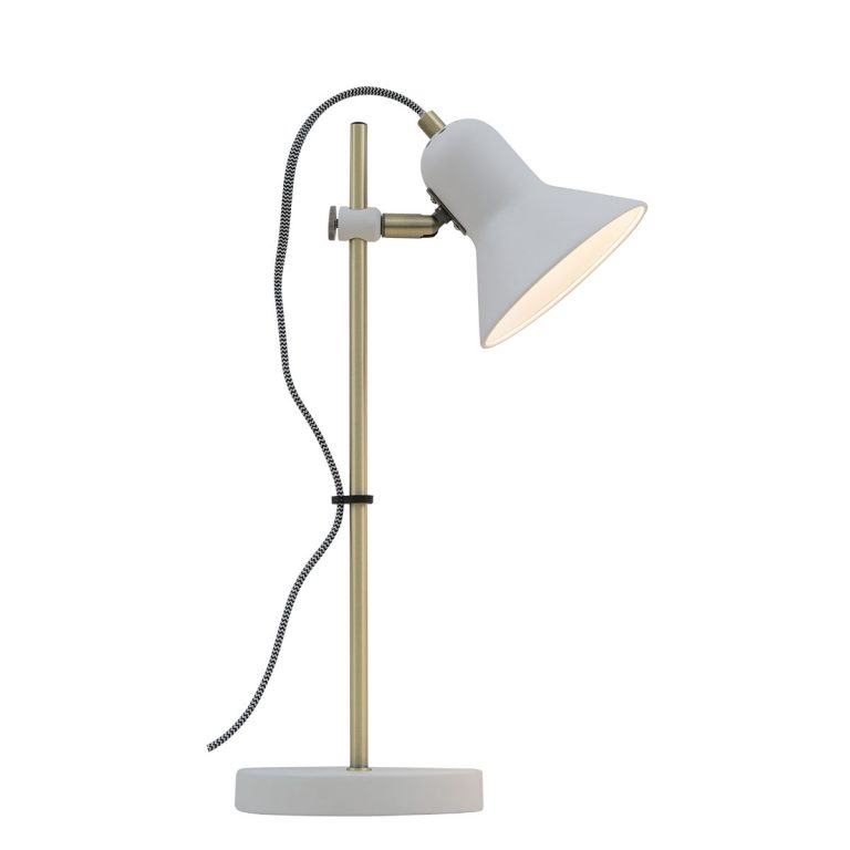 Corelli white and Antique Brass Adjustable Table Lamp