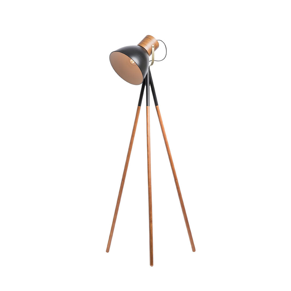 Calico Timber and Black Dome Tripod Floor Lamp