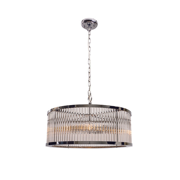 Canterbury 3 Light Round Chrome with Glass Rods Pendant