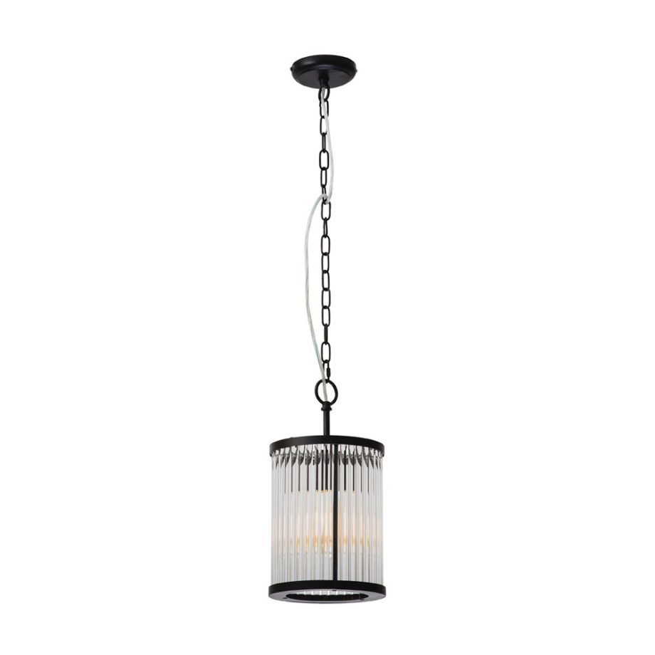 Canterbury 1 light Pendant Crystal with Matt Black Frame-CE2131