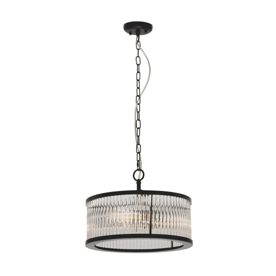 Canterbury 4 light Round Pendant Crystal with Matt Black Frame-CE2134