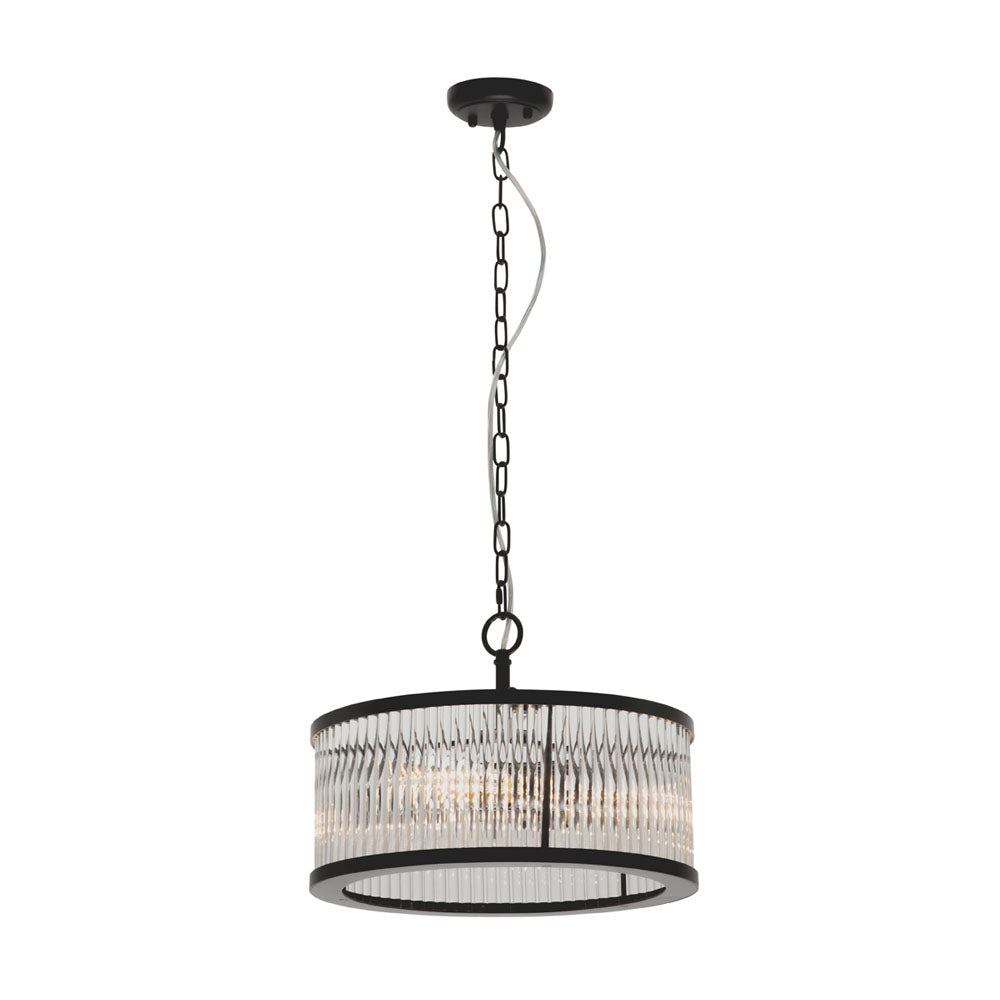 Canterbury 3 Light Round Matt Black with Glass Rods Pendant