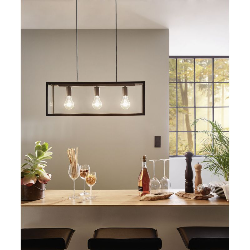 Charterhouse 3 Light Box Frame and Glass Panel Pendant