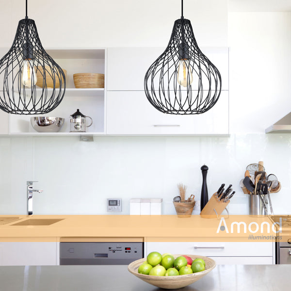 Cora 315mm Teardrop Overlap Wireframe Pendant by Amond