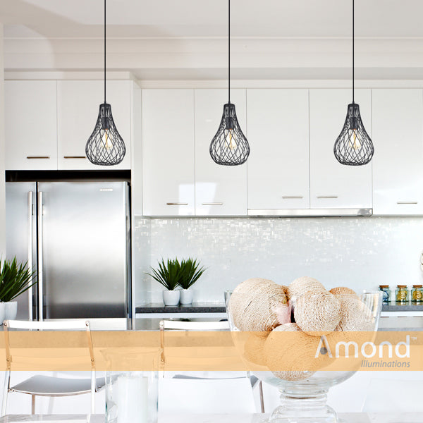 Cora 210mm Teardrop Overlap Wireframe Pendant by Amond