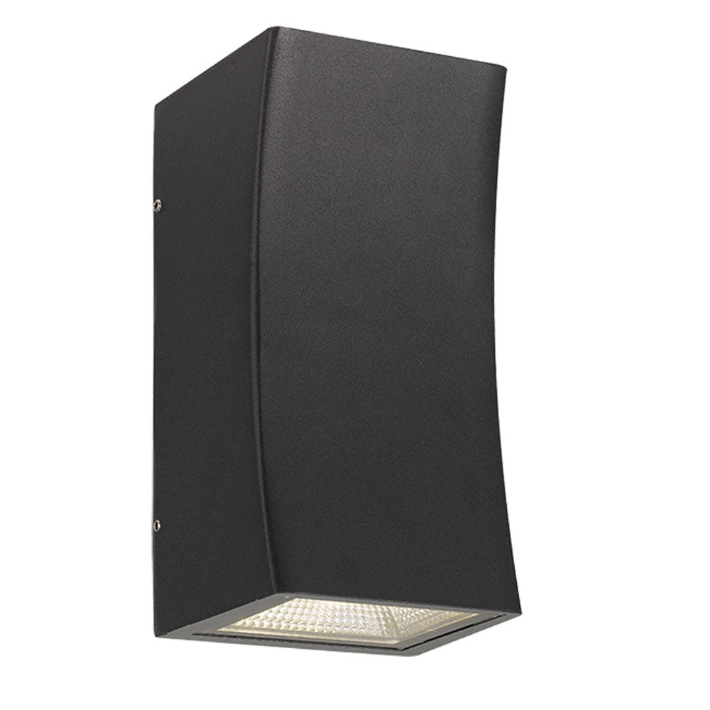 Dash Black Curved Box Up/Down LED Exterior Wall Light
