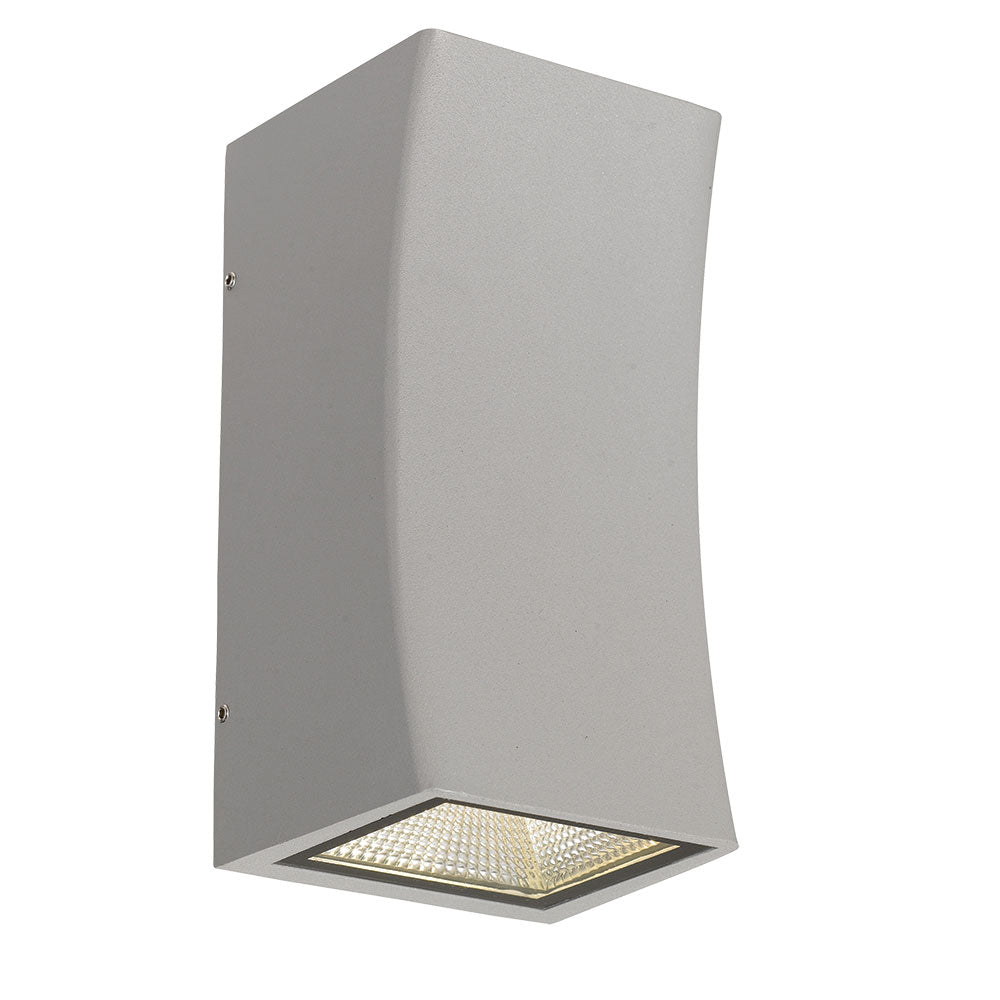 Dash Silver Curved Box Up/Down LED Exterior Wall Light