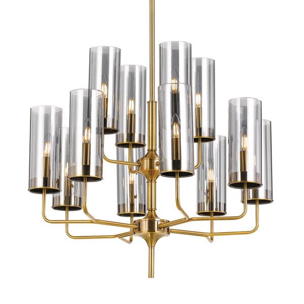 Decaro 12 Light Brass and Tinted Glass Candle Tree Pendant