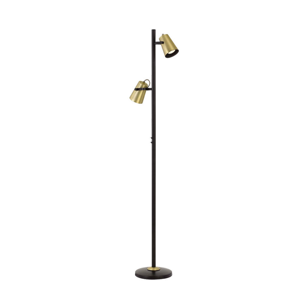 Deny Dual Head Antique Brass and Black Floor Lamp