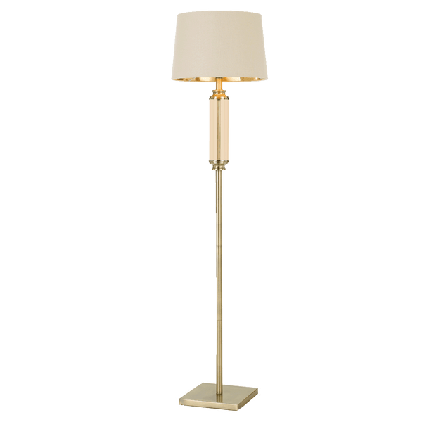 Dorcel Antique Brass and Amber Traditional Floor Lamp
