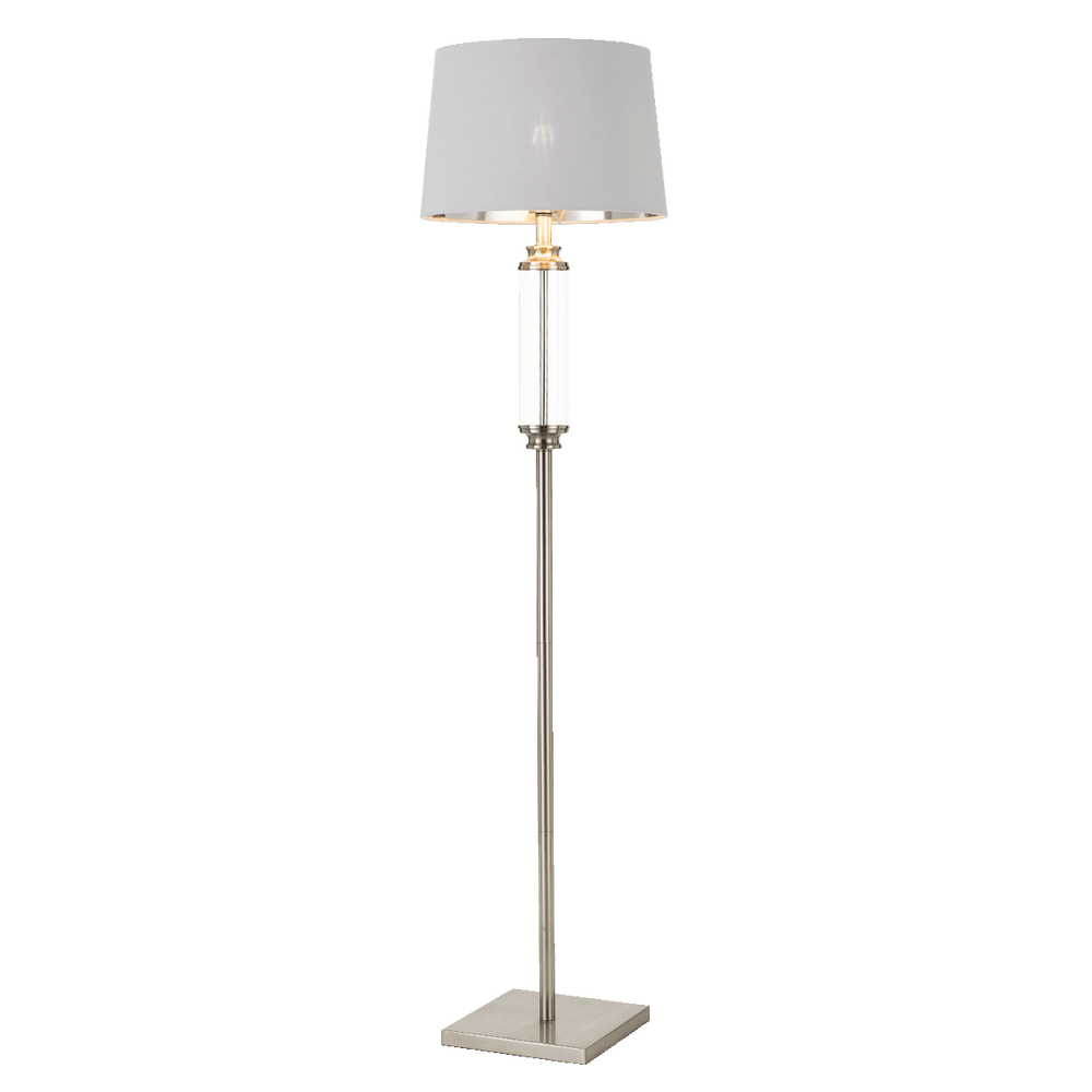 Dorcel Nickel and Clear Traditional Floor Lamp