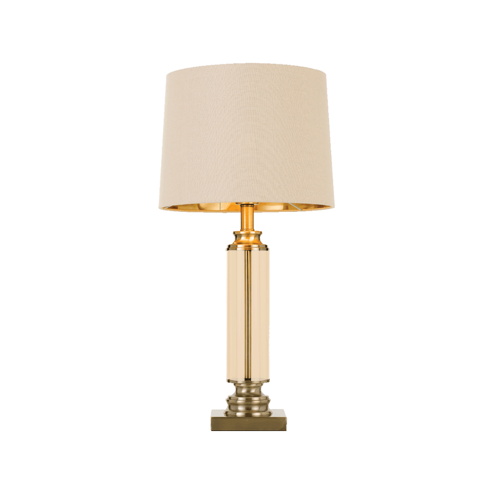 Dorcel Antique Brass and Amber Traditional Table Lamp