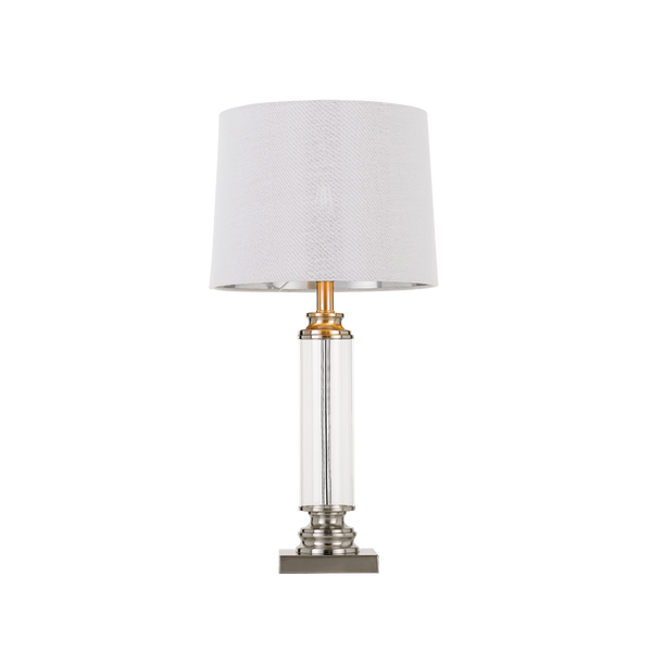 Dorcel Nickel and Clear Traditional Table Lamp