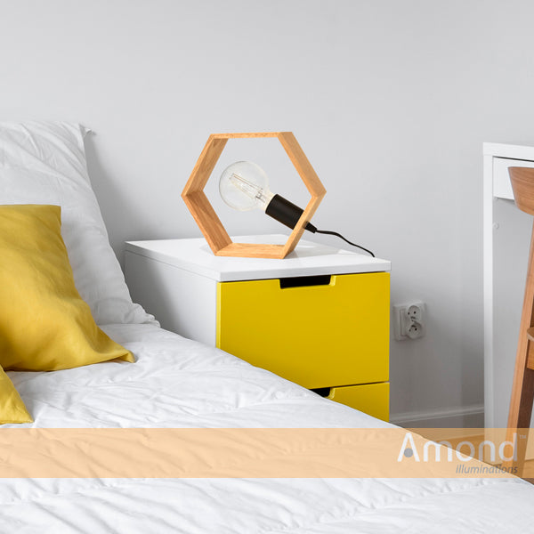 Desta Hexagonal Timber Frame Table Lamp by Amond