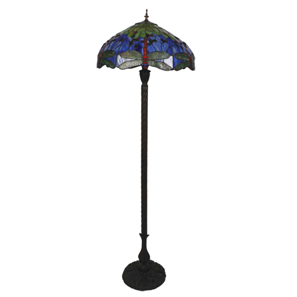 "Red/Blue Dragonfly 20"" Floor Lamp"
