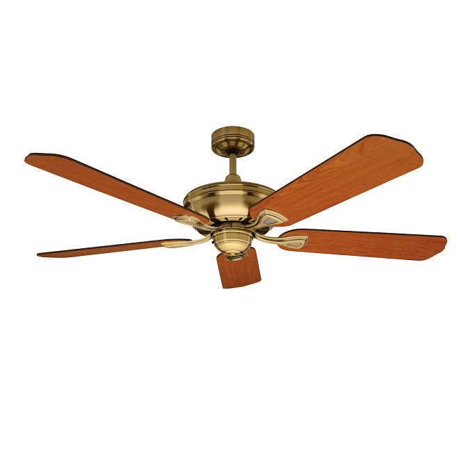 Healey 1300mm Antique Brass Reversible Five-Blade Ceiling Fan By Mercator