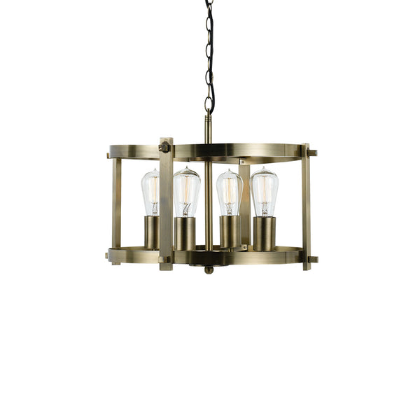 Finley 46cm 4 Light Brass Matt Drum Frame Pendant