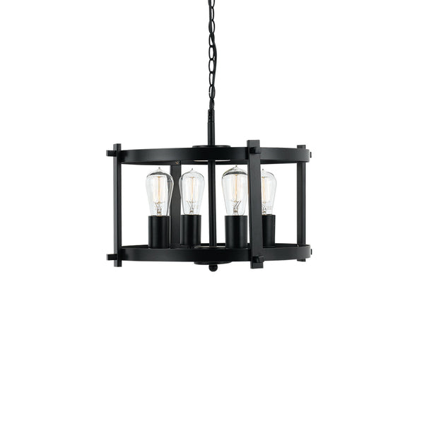 Finley 46cm 4 Light Black Matt Drum Frame Pendant