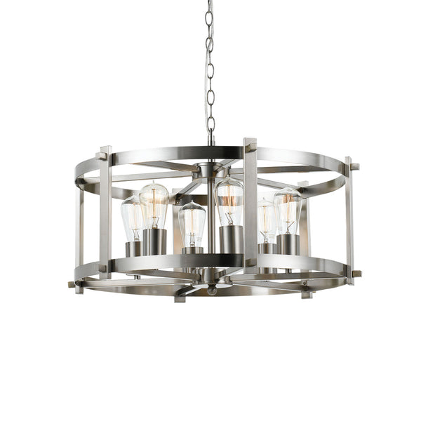 Finley 60cm 6 Light Nickel Matt Drum Frame Pendant