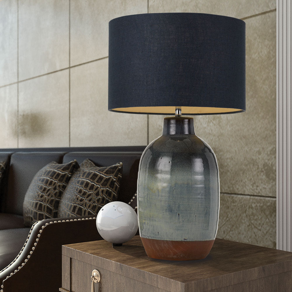 Fran Dark Blue and Fade Glaze Table Lamp