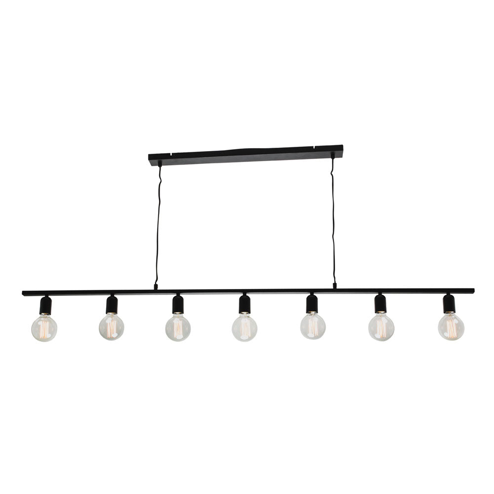 Fiona 7 Light Modern Industrial Minimalist Matt Black Pendant