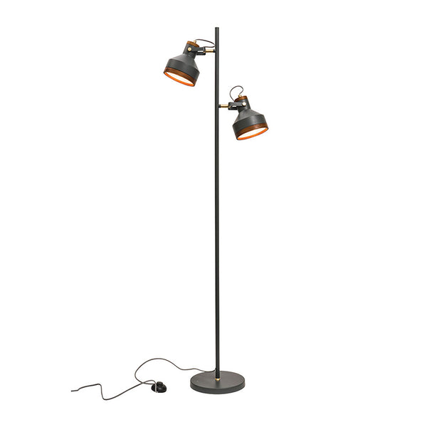 Clinton Dark Grey and Brushed Brass with Timber Modern Industrial 2 Light Floor Lamp