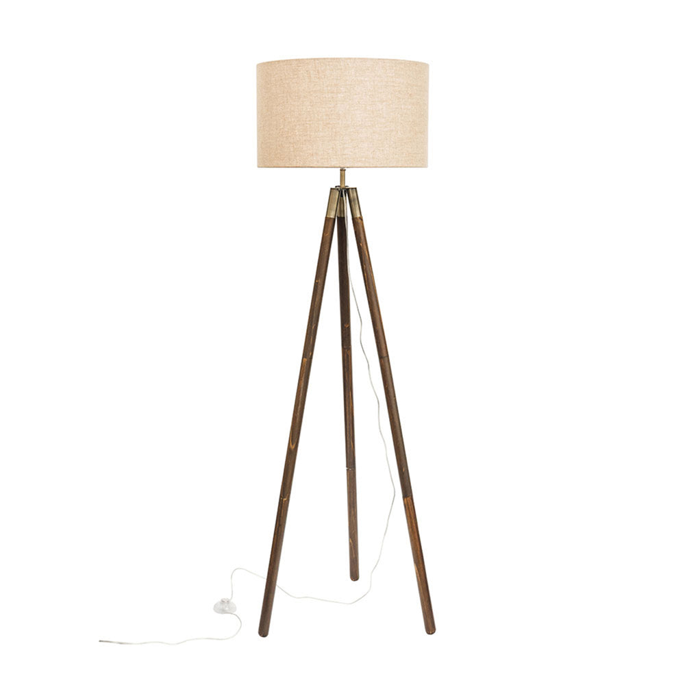Prince Dark Wood and Antique Brass Tripod Floor Lamp
