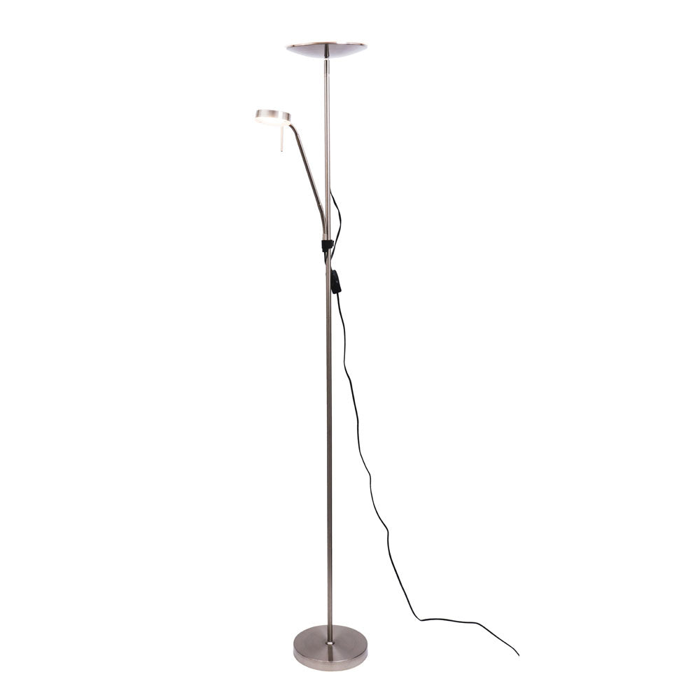 Georgia Brushed Chrome Mother and Child LED Floor Lamp