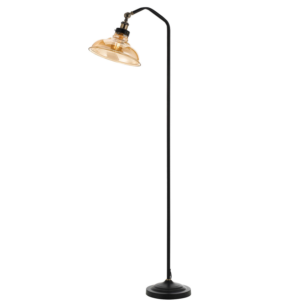 Hertel Industrial Amber Glass Shade Floor Lamp