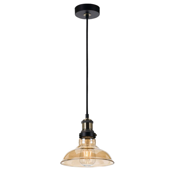 Hertel 20cm Industrial Amber Glass Shade Small Pendant