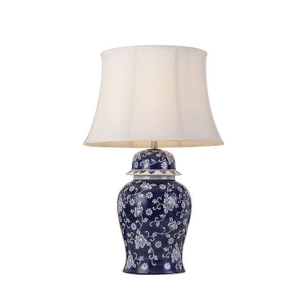 Iris Blue with White Floral Vase Table Lamp