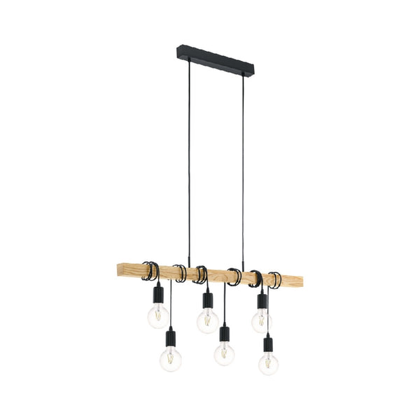 Townshend Black and Timber 6 Light Pendant