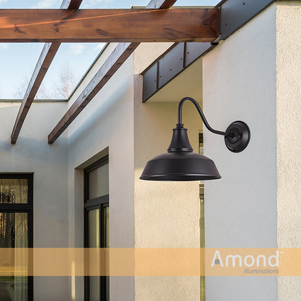 Irvine Black Industrial Downward Shade Wall Exterior by Amond