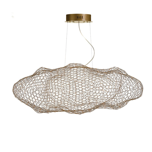 Kasha 120 Gold Wireframe Mesh Cloud LED Pendant