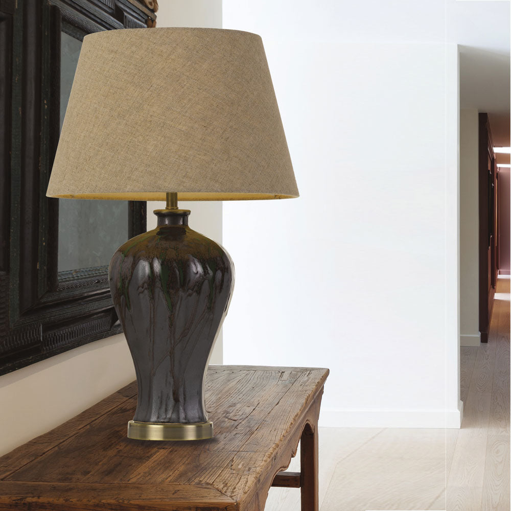 Kathy Glazed Green Table Lamp