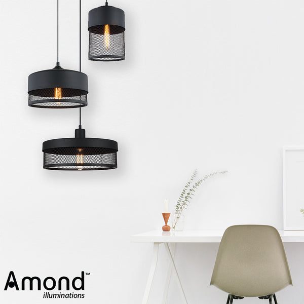 Karsen 250 Medium Modern Cylindrical Cage Pendant by Amond