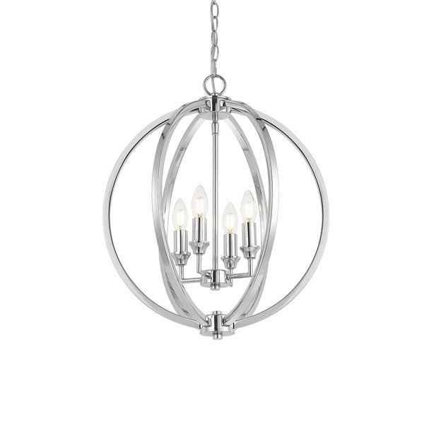 Kendall 4 Light Sphere Pendant Chrome