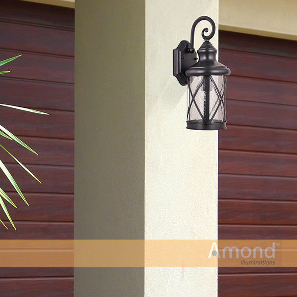 Kinross Black Downward Street Lantern Wall Exterior by Amond