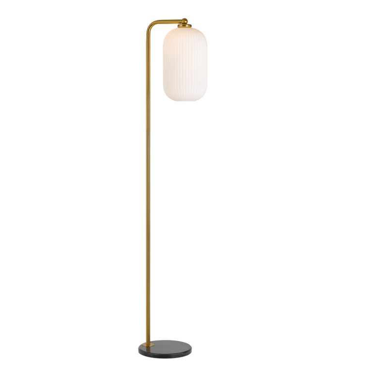 Lark Antique Gold and Opal Studio Floor Lamp