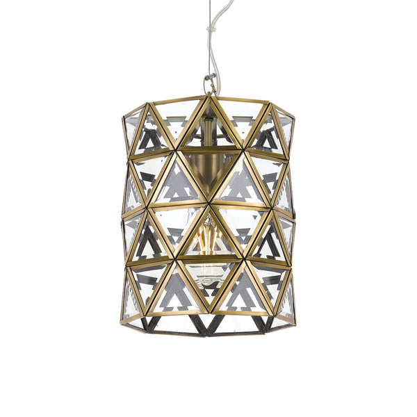 Lewis 26cm Antique Brass Triangular Panel Cylinder Pendant