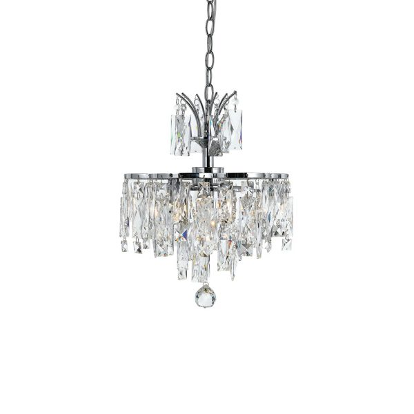 Libson 4 Light Crystal and Chrome Layered Adaptable Fixture