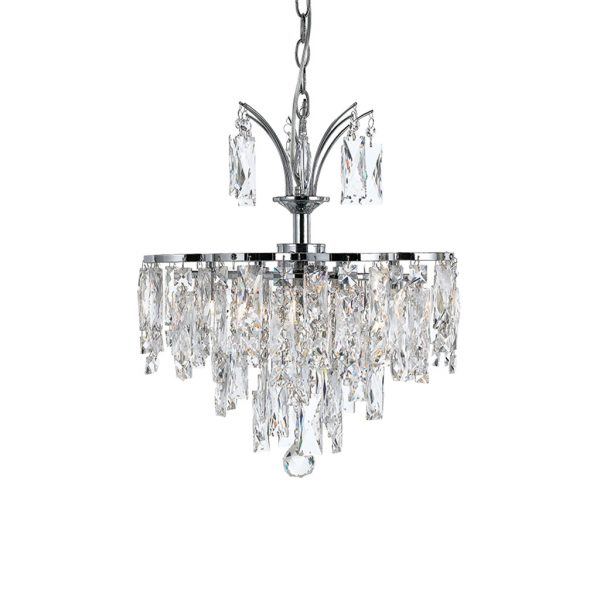 Libson 5 Light Crystal and Chrome Layered Adaptable Fixture