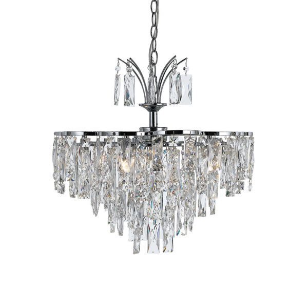 Libson 6 Light Crystal and Chrome Layered Adaptable Fixture