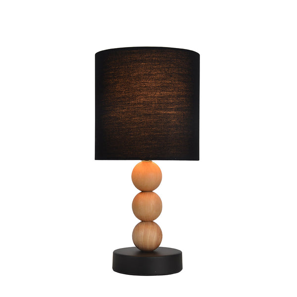Cara Black and Wood Modern Table Lamp