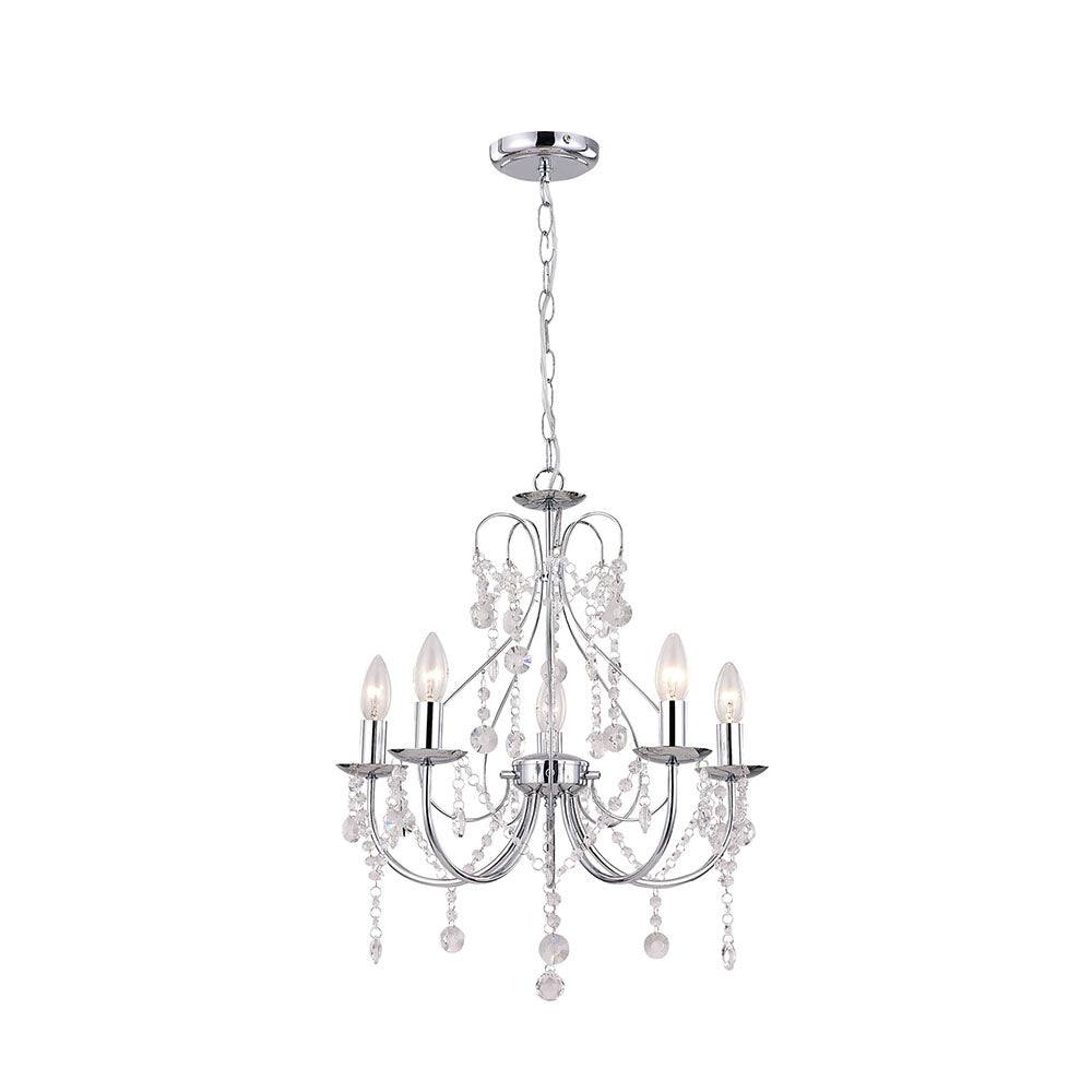 Renee Chrome and Clear Crystal Chandelier Pendant
