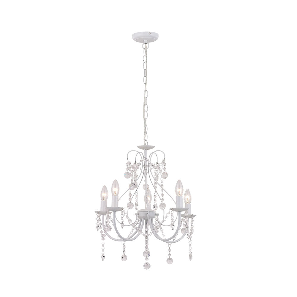 Renee White and Clear Crystal Chandelier Pendant