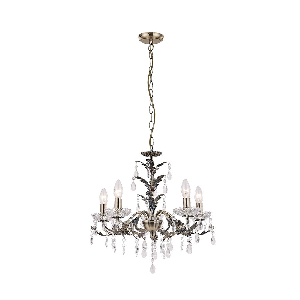 Michelle Antique Brass and Clear Crystal Chandelier Pendant