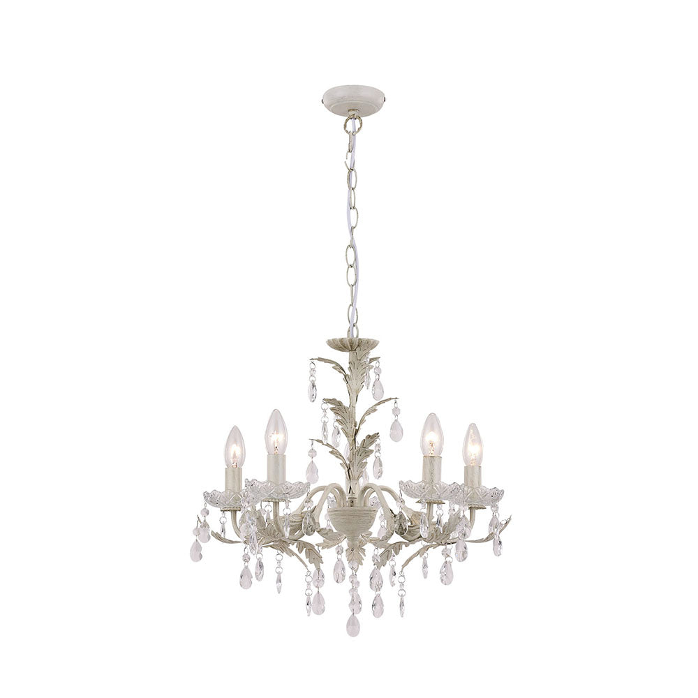 Michelle Cream Brushed Gold and Clear Crystal Chandelier Pendant