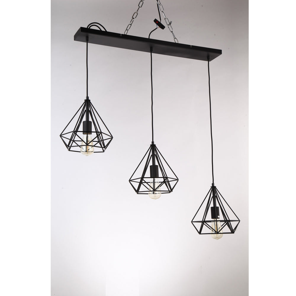 LL-Inca 3-Light Bar Black Geometric Array Industrial Cage Pendant By Amond